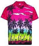 V.H.O. Funky Hawaiihemd, Kurzarm, Beach, pink, 10XL