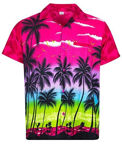 V.H.O. Funky Hawaiihemd, Kurzarm, Beach, pink, XL