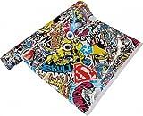 Neoxxim 9€/m Premium - Auto Folie - Stickerbomb Folie Skull BUNT 100 x 150 cm - JDM Dub Klebefolie - blasenfrei mit Luftkanälen Klebefolie Selbstklebefolie selbstklebend flexibel