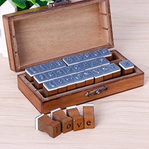 Dabixx Retro Alphabet Brief Großbuchstaben Kleinbuchstaben Holz Stempel Set Handwerk 30 Stücke Hauptstadt/Kleinbuchstaben