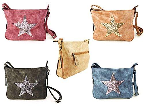 d83505f4b733d ... Damen Handtaschen Tasche Schultertasche Umhängetasche mit Stern oder  Totenkopf Muster Tragetasche Stern grau Stern braun
