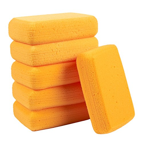 synthetische Schwämme – große Bastelschwämme – Ideal für Malen, Basteln, Töpferei, Ton, Haushalt, 19,1 x 5,1 x 12,7 cm, Orange ()