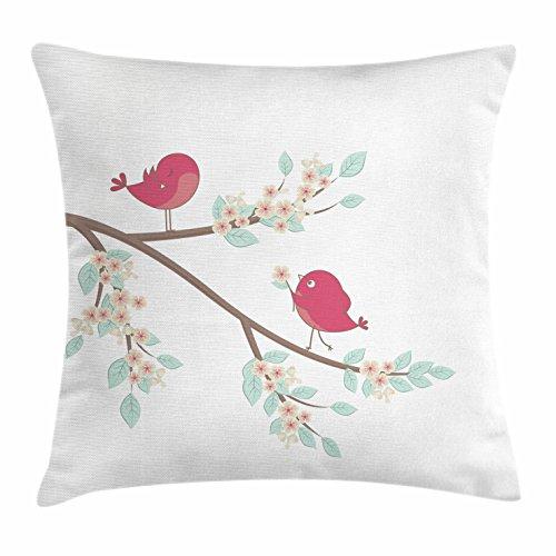 Birds Überwurf Kissenbezug, von lunarable, Cute Pink Birds in Love auf einem Ast Cartoon Style Valentinstag Illustration, dekorative...