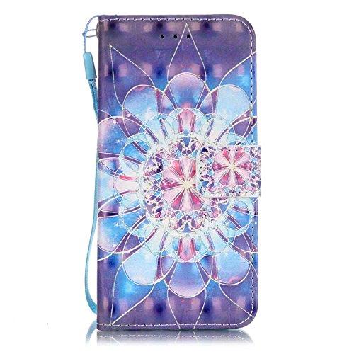 Custodia iPhone 7, Gray Plaid Design [Slot Schede] 3D Bling Custodia in pelle Protettiva Flip Cover per iPhone 7 - Feather Tribal Fiore di cristallo