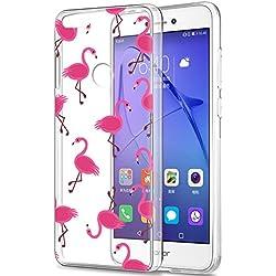Eouine Funda Huawei P8 Lite 2017, Cárcasa Silicona 3D Transparente con Dibujos Diseño Suave Gel TPU [Antigolpes] de Protector Bumper Case Cover Fundas para Movil Huawei P8Lite 2017 (Flamingos)