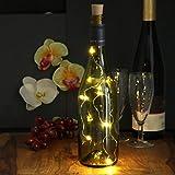 com-four® 6X Korken Lichterkette für Weinflaschen