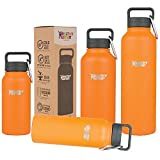 Healthy Human Isolierte Edelstahl Trinkflasche, Thermosflasche, 1200 ml, Orange Sherbet