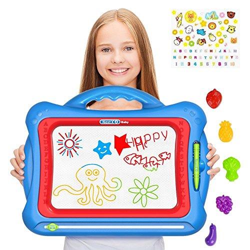 Zeichentafel,Magnetisches Größe Zaubermaltafel für Kinder,mit 5 Formstempeln und wundervollen Aufklebern - Abwischbar Farbenfroh Manga Doodle Spielzeug Schreiben Zeichen Pad – Gesche