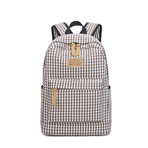 Winnerbag Fashion Plaid Druck Leinwand Rucksack für Mädchen im Teenageralter Cute Preppy Style Middle School Student Bag Braun 14 Zoll (Plaid Preppy)