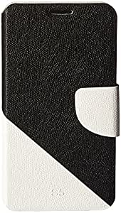 JUJEO 2-color Series Cross Texture Leather Case with Credit Card Slots & Holder for for Samsung Galaxy S5 / i9600 (White + Black) - Carrying Case - Non-Retail Packaging - White