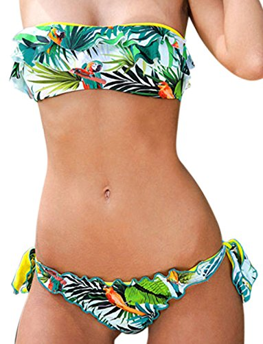 erdbeerloft - Damen Bikini Bandeau mit Floral Print, Grün, Größe XS (Bikini Print Paisley)
