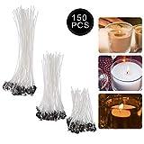YeeStone Kerzendocht 150 Stück Kerzendochte Kerzen Dochte Candle Wick in 3 Verschiedenen Größen - für die Kerzenherstellung