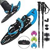 ALPIDEX Schneeschuhe 25 INCH Schuhgröße 38-45 bis 130 kg Steighilfe Tragetasche Optional Stöcke, Farbe:Blue mit Stöcken