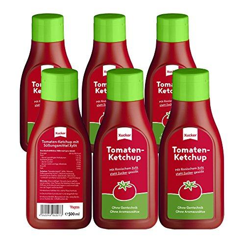 Xucker 6er Pack Tomaten-Ketchup ohne Zuckerzusatz mit Xylit aus Finnland,6 x 500 ml PET-Flasche, 269