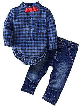 BIG ELEPHANT Baby Jungen 2 Stück Plaid Shirt Kleidung Set G24