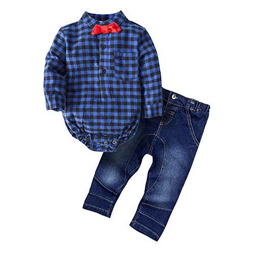 Big Elephant Baby Jungen'2 Stück Jeans Shirt Bekleidung Set mit Bowtie G24 (Big Kinder Bekleidung)