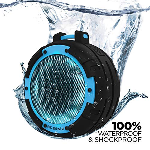 ACOOSTA Bold 820, IPX8 100% Waterproof, Portable Wireless Bluetooth Speaker (5 watt) with Loud Bass, 4 Colorful LED Light Modes, Shockproof & Dustproof with Built in Mic, Aux & Upto 6 hrs of Playback