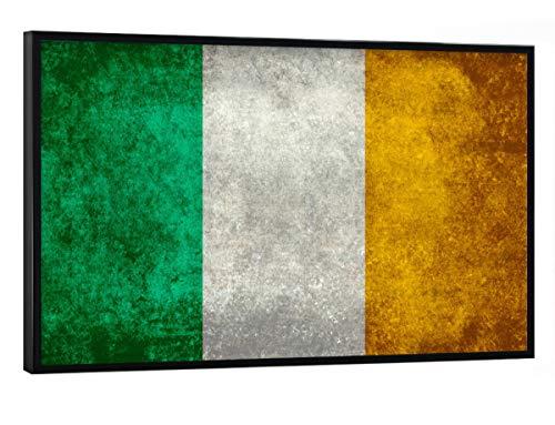 artboxONE Poster mit schwarzem Rahmen 30x20 cm Reise Flagge von Irland - Bild Irisch Irland Flagge (Irische Bilder)