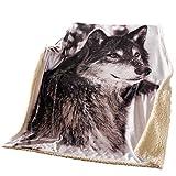 SIDCO Kuscheldecke Wolf Plüschdecke Pelzdecke Printdesign Couchdecke Tier Tagesdecke