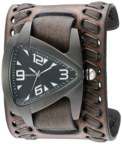 Nemesis Men's 'IP Ion-Plated Teardrop' Quartz Stainless Steel and Leather Automatic Watch, Color:Black (Model: VBDK061W)