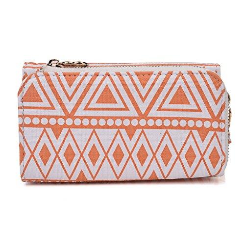 Kroo Pochette/étui style tribal urbain pour Sony Xperia E White and Orange White and Orange