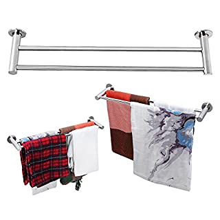 OGORI Stainless Steel Plated Wall Mounted Bathroom Towel Double Shelf Storage Rail Holder Rack (59MM)