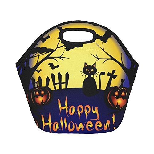 Isolierte Neopren-Lunch-Tasche Happy Halloween Card Vollmond-Fledermäuse Große, wiederverwendbare, thermisch dicke Lunch-Tragetaschen Für den Einsatz im Freien, im Büro, in der Schule