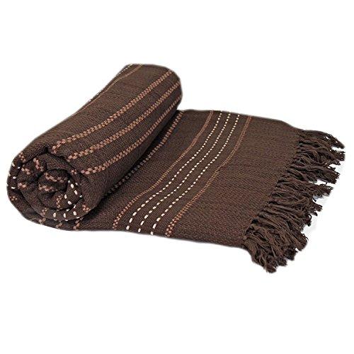Just contempo - copriletto/copridivano termico, 100% in cotone tessuto, di lusso, 100% cotone, cioccolato (marrone), coppia