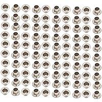 sourcing map 100Stk.4mm Messing /Öse Gummimuffe Silber Ton f/ür Kleidung Leder Leinwand DE de
