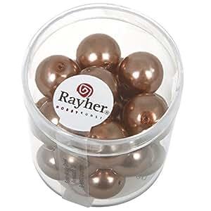 Rayher Hobby 14404520–Renaissance Verre Perles de cire, diamètre 12mm, boîte 21pièces, Kaschmir