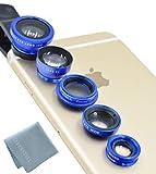 Elfenstall 5 in 1 Clip-On Kamera Adapter Optische Weitwinkelobjektiv FishEye Fischauge Objektiv Linse & Micro Objektiv Linsen - Fischaugenobjektiv + Weitwinkel + Mikroobjektiv + 2X EXT Barlow + CPL Polfilter für ihr Smartphone Handy oder Tablet - Universal Linsen Clip in der Farbe (blau)