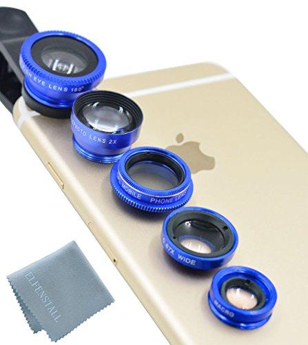 Elfenstall 5 in 1 Clip-On Kamera Adapter Optische Weitwinkelobjektiv FishEye Fischauge Objektiv Linse & Micro Objektiv Linsen - Fischaugenobjektiv + Weitwinkel + Mikroobjektiv + 2X EXT Barlow + CPL Polfilter Smartphone Handy Tablet - Universal Linsen Clip (blau)