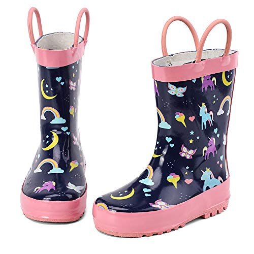 hiitave Kids Wellies Wellingtons Rain Boots Waterproof Rubber Functional Shoes for Girls,Boy & Infant with Fun Prints & Handles