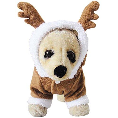 Holiday Weihnachten Kostüm Pet - NACOCO Pet Costumes Hund Weihnachten Anzug Hund Elk Santa Kostüm Polar Fleece Fit für Puppy Hunde Teddy, Large, braun