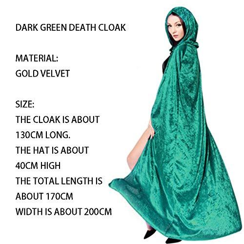 qys Halloween-Umhang Cosplay Weihnachtskostüm Langer Mantel des Todes Zauberer Hexe Prinz Prinzessin Umhang(Green,170cm)