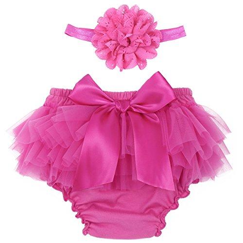 Tiaobug Baby Mädchen Rüschen Höschen Slip Spitze Bowknot Briefs Windelhose + Blumen Stirnband Kleidung Set Kleinkinder Foto Fotografie Outfits 0-24 Monate Pink B 50-56/0-3 Monate