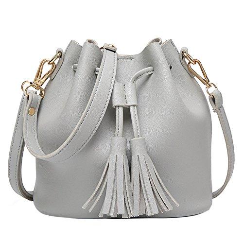 SANNU Frauen Tunnelzug Eimer Taschen Kleine Cross-Body Purses PU Leder Shopper Bag (Grau) (Leder Handschuhe Frauen Tasche)