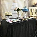TRLYC schimmernder Paillettenstoff / Tischdecke, 127x 182,9cm, für Hochzeiten, erhältlich in vielen Farben, Sonstige, Schwarz , 50