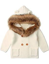 Ropa Bebe Unisex Invierno, Zolimx 0-24 Meses Bebé Niños Niñas Recién Nacidos Collar de Piel con Capucha de Punto Tops Ropa de Abrigo Caliente