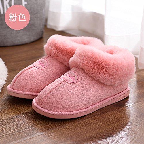 DogHaccd pantofole,In autunno e in inverno, pantofole di cotone femmina pacchetto spessa con anti-slittamento minimalista caldo indoor Home Home Il cotone pantofole inverno gli amanti Rosa4