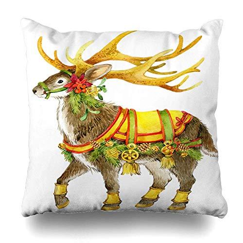 Monicago Zierkissenbezüge, Throw Pillow Covers, Nature Antler Watercolor Reindeer Christmas Winter Celebration Cute December Deer Seasonal Home Decor Pillowcase Square Size 18