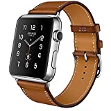 Apple Watch Armband, Echtes Lederband Klassisch Uhrenarmband für Apple Watch Series 3/Series 2/Series 1 Sport/Edition/Nike+ alle Versionen (42mm, Braun)