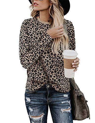 BMJL - Camiseta de Manga Corta para Mujer, diseño de Leopardo Leopard 22 Manga Larga O 38/40 ES/M