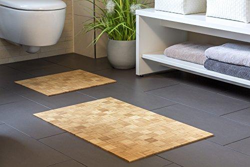 Badteppich KARO Nature Aus Bambus | 40x50cm | Teppich | Rutschfest |  Bambusmatte | Badematte | Bad | Badezimmer | Saunamatte | WC  Vorleger |  Markenprodukt ...