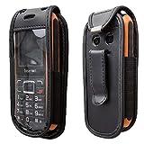 caseroxx Handy-Tasche Ledertasche mit Gürtelclip für bea-fon AL550 aus Echtleder, Handyhülle für Gürtel (mit Sichtfenster aus schmutzabweisender Klarsichtfolie in schwarz)