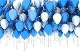 PuTwo Globos Azules y Blancos, Globos 100 Unidades de 12 Pulgadas Paquete de Globos Azul Claro Globos Azules y Globos Blancos para Decoracion Cumpleaños Niño, Decoracion Bautizo, Baby Shower Niño