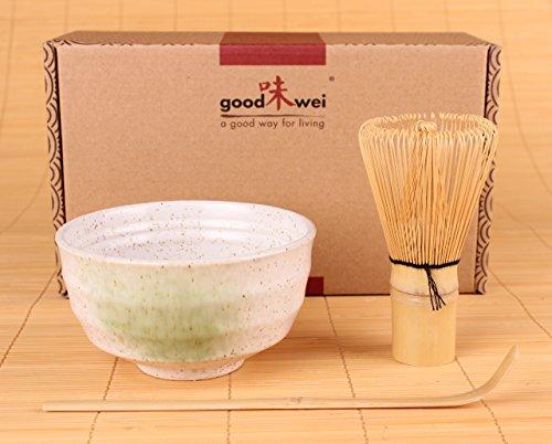 Set di Tè Matcha Giapponese (Bianco) Goodwei