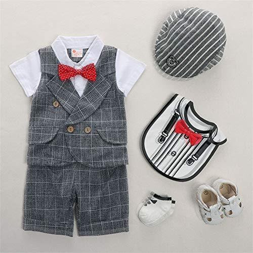 rumiao Jungen Sommeranzug Babykleidung 1-2 Jahre Alt Sommer Dünne Kurze Ärmel Vier Stück Baby Alter Kleid Gentleman Anzug Set,Grayplaid-39.37in (Baby-ring-bearer-outfit)