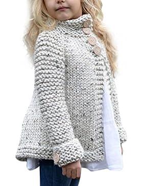 Vovotrade 3-12 Años Bebé Chicas Niña Ropa de Equipo Botón De Punto Suéter De lana Cárdigan Abrigo Blusa Invierno...