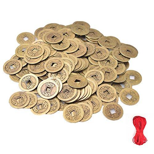 Pack von 50 chinesischen Qing-Dynastie Glück Feng Shui Coin Glück Reichtum und Erfolg Nachahmung Metall alte Münze zufällige Mixed 2.3cm/1inch mit 10M frei Nylon chinesischen Knoten Cord (Alte Chinesische Münze)